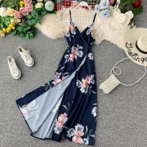Dress Winter of 2019 White, dark blue Average size Mid length dress singleton  Sleeveless commute V-neck High waist Big flower Socket A-line skirt other camisole 18-24 years old Type A Korean version Pleating, open back, stitching, asymmetry, printing 31% (inclusive) - 50% (inclusive) other other