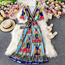 Dress Summer 2020 Yellow flower on blue background S,M,L Mid length dress singleton  Short sleeve commute V-neck High waist Decor Socket A-line skirt routine Others 18-24 years old Type A Korean version 30% and below other other
