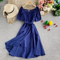 Dress Autumn 2020 Red, dark blue, green, blue, chocolate, pink, ginger, black, yellow Average size Mid length dress singleton  Short sleeve commute V-neck High waist Solid color Socket A-line skirt routine Others 18-24 years old Type A Korean version 30% and below other other