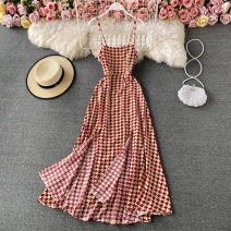 Dress Spring 2021 Black, light green, yellow, red S,M,L Mid length dress singleton  Sleeveless commute other High waist lattice Socket A-line skirt other camisole 18-24 years old Type A Korean version Backless, asymmetrical, printed 30% and below other other