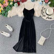 Dress Autumn of 2019 Black, Burgundy, blue, pink Average size Mid length dress singleton  Sleeveless commute V-neck High waist Solid color Socket A-line skirt other camisole 18-24 years old Type A Korean version Pleating, open back, pleating, stitching 31% (inclusive) - 50% (inclusive) other other