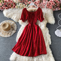 Dress Summer 2021 Red, black, white, apricot Average size Middle-skirt singleton  Short sleeve commute Crew neck Elastic waist Dot Socket A-line skirt bishop sleeve Others 18-24 years old Type A Korean version Frenulum 30% and below other other