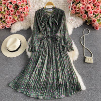 Dress Summer 2021 Average size Mid length dress singleton  Long sleeves commute Crew neck High waist Decor Socket A-line skirt puff sleeve 18-24 years old Type A Korean version Lace up 30% and below other other
