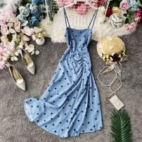 Dress Summer 2020 White, black, ginger, red, blue S,M,L Mid length dress singleton  Sleeveless commute square neck High waist Dot Socket Irregular skirt other camisole 18-24 years old Type A Korean version Ruffle, pleated, open back, pleated, stitched, asymmetrical, wavy, printed
