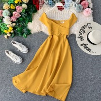 Dress Autumn of 2019 Average size Mid length dress singleton  Short sleeve commute One word collar High waist Solid color Socket A-line skirt other Others 18-24 years old Type A Korean version 31% (inclusive) - 50% (inclusive) other other