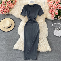 Dress Summer 2021 Black, grey, dark grey Average size longuette singleton  Short sleeve commute Crew neck High waist Solid color Socket A-line skirt routine 18-24 years old Type H Korean version fold 30% and below other other