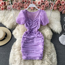 Dress Spring 2021 Violet, dark brown, white S,M,L Short skirt singleton  Short sleeve commute square neck High waist Solid color Socket A-line skirt routine Others 18-24 years old Type A Korean version fold 30% and below other other