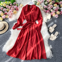 Dress Summer 2020 Red, orange, sapphire, black, apricot, orange M, L Mid length dress singleton  Short sleeve commute Polo collar High waist Solid color Socket A-line skirt routine Others 18-24 years old Type A Korean version 30% and below other other