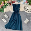 Dress Autumn of 2019 Red, blue, black, pink, yellow Average size Mid length dress singleton  Sleeveless commute V-neck High waist Solid color Socket A-line skirt other Others 18-24 years old Type A Korean version Bow, ruffle, open back, lace, stitching, asymmetric 31% (inclusive) - 50% (inclusive)