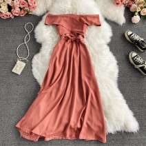 Dress Winter 2020 Black, orange, lake blue, light pink Average size Mid length dress singleton  Long sleeves commute One word collar High waist Solid color Socket A-line skirt routine Others 18-24 years old Type A Korean version 30% and below other other