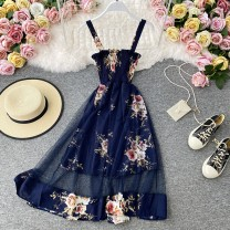 Dress Summer 2020 Average size Mid length dress singleton  Sleeveless commute V-neck High waist Decor Socket A-line skirt routine camisole 18-24 years old Type A Korean version 30% and below other other