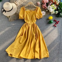 Dress Autumn 2020 Average size Mid length dress singleton  Short sleeve commute square neck High waist Solid color Socket A-line skirt routine Others 18-24 years old Type A Korean version 30% and below other other