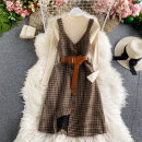 Dress Winter 2020 M, L Mid length dress singleton  Long sleeves commute Crew neck High waist Solid color Socket A-line skirt routine Others 18-24 years old Type A Korean version 30% and below other other