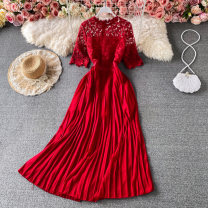 Dress Summer 2021 Red, light green, yellow, pink, violet, white, dark blue M Mid length dress singleton  Short sleeve commute Crew neck High waist Solid color zipper A-line skirt routine Others 18-24 years old Type A Korean version Cut out and zipper 30% and below other other