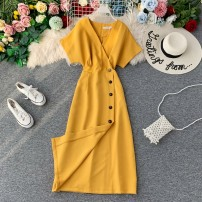 Dress Autumn of 2019 Average size Mid length dress singleton  Short sleeve commute V-neck High waist Solid color Socket A-line skirt other Others 18-24 years old Type A Korean version Pleats, stitching, asymmetry, buttons 31% (inclusive) - 50% (inclusive) other other