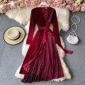 Dress Winter 2020 Black, red M,L,XL,2XL longuette singleton  Long sleeves commute V-neck High waist Solid color Socket A-line skirt routine Others 18-24 years old Type A Korean version Diamond inlay 30% and below other other