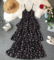 Dress Summer of 2019 S, M longuette singleton  Sleeveless commute V-neck High waist Decor Socket Cake skirt camisole 18-24 years old Type A Korean version other