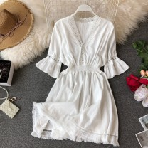 Dress Spring of 2019 White, yellow, black, pink Average size Middle-skirt singleton  Short sleeve commute V-neck High waist Solid color Socket Ruffle Skirt pagoda sleeve Others 18-24 years old Type A Korean version