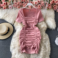 Dress Spring 2021 Black, pink Average size Short skirt singleton  Short sleeve commute square neck High waist Solid color Socket A-line skirt routine Others 18-24 years old Type A Korean version Tuck, lace up 30% and below other other