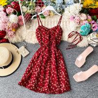 Dress Summer 2020 Average size Middle-skirt singleton  Sleeveless commute V-neck High waist Decor Socket other other camisole 18-24 years old Type A Korean version