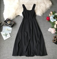 Dress Summer of 2019 Black, red S,M,L Mid length dress singleton  Sleeveless commute V-neck High waist Solid color Socket Princess Dress other camisole 18-24 years old Type A Korean version Bow, ruffle, tuck, open back, fold, splice, asymmetry, strap, wave