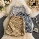 skirt Spring 2021 S,M,L Short skirt commute High waist A-line skirt lattice Type A 18-24 years old 30% and below other other Asymmetry, button Korean version