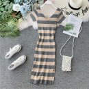Dress Autumn of 2019 Gray, green, black, red, pink, orange Average size Mid length dress singleton  Short sleeve commute V-neck High waist stripe Socket A-line skirt routine Others 18-24 years old Type X Korean version Open back, stitching 31% (inclusive) - 50% (inclusive) knitting other