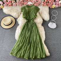 Dress Spring 2021 Purplish red, green, emerald green, yellow, black, light brown, red Average size Mid length dress singleton  Sleeveless commute Crew neck High waist Solid color Socket A-line skirt routine Others 18-24 years old Type A Korean version Lace 30% and below other other