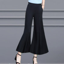 Casual pants XL,2XL,3XL,4XL Summer 2021 trousers rompers High waist commute Thin money 40-49 years old polyester fiber literature pocket polyester fiber Asymmetry