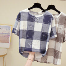 Women's large Summer 2021 Gray, blue L [recommended 90-120 Jin], XL [120-140 Jin], 2XL [140-160 Jin recommended], 3XL [160-180 Jin recommended], 4XL [180-200 Jin recommended] T-shirt singleton  commute easy moderate Socket Short sleeve shape Korean version Crew neck routine Three dimensional cutting