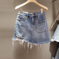 Jeans Summer 2020 blue S,M,L,XL shorts High waist Wide legged trousers routine 18-24 years old Wear out light colour