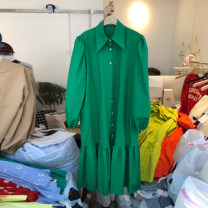 Dress Spring 2021 green S,M,L,XL Mid length dress singleton  Long sleeves commute Polo collar Loose waist Solid color Single breasted Ruffle Skirt puff sleeve Others 18-24 years old Type H Korean version Resin fixation More than 95% other cotton