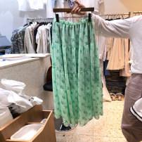 skirt Summer 2021 S,M,L,XL green Mid length dress commute High waist A-line skirt Broken flowers Type A 18-24 years old More than 95% other other Resin fixation Korean version