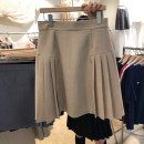 skirt Autumn 2020 S,M,L,XL Khaki, black, grayish blue Short skirt commute High waist A-line skirt Solid color Type A 18-24 years old More than 95% other other Resin fixation Korean version