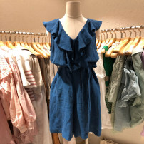 Dress Summer 2021 S,M,L,XL Mid length dress singleton  Sleeveless commute V-neck High waist Solid color Ruffle Skirt other Others 18-24 years old Korean version 81% (inclusive) - 90% (inclusive) other