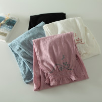 Casual pants Black, white, blue, pink purple Average size Autumn of 2019 trousers Natural waist commute routine 96% and above literature Embroidery cotton