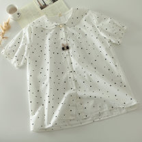 shirt white Average size Summer of 2019 cotton 96% and above Short sleeve commute Regular Doll Collar Single row multi button routine Dot