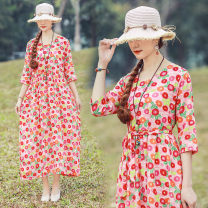 Dress Summer of 2019 Yellow, purple, pink L,XL longuette singleton  three quarter sleeve commute V-neck Loose waist Broken flowers Socket Big swing 40-49 years old Type A ethnic style printing 51% (inclusive) - 70% (inclusive) cotton