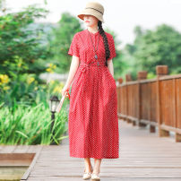 Dress Summer of 2019 Red dot M,L,XL,2XL longuette singleton  Short sleeve commute stand collar Loose waist Dot Socket A-line skirt 40-49 years old Type A ethnic style printing 51% (inclusive) - 70% (inclusive) cotton