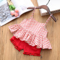 suit Other / other gules 7 / 90, 9 / 100, 11 / 110, 13 / 120, 15 / 130 female summer leisure time Sleeveless + pants 2 pieces Thin money No model Socket nothing Broken flowers Cotton blended fabric children Expression of love Class B Cotton 95% polyester 5% Chinese Mainland Guangdong Province