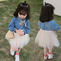 Dress lady Solid color Class B Long sleeve Zhejiang Province Chinese Mainland female Other / other 2 years old, 3 years old, 4 years old, 5 years old, 6 years old, 7 years old, 8 years old Patchwork Cotton blended fabric Other 100% spring and autumn AF65180 As shown in the picture
