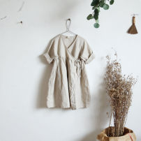 Dress female Other / other Flax 100% spring and autumn Long sleeves Solid color Cotton and hemp A-line skirt 2, 3, 4, 5, 6, 7, 8, 9, 10, 11