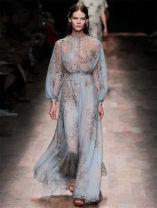 Dress Summer 2020 S,M,L,XL longuette Long sleeves commute stand collar High waist Big swing silk