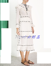 Dress Summer of 2019 white Zero, one, two Mid length dress Long sleeves stand collar Socket Lotus leaf sleeve More than 95% cotton