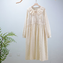 Dress Spring 2021 Beige Average size longuette singleton  Long sleeves Sweet Loose waist Solid color Socket routine Embroidery HYS02 More than 95% cotton solar system