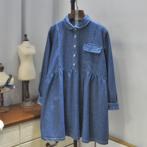 Dress Autumn of 2019 Dark blue, blue (around 20) Average size Short skirt singleton  Long sleeves Sweet Doll Collar Solid color 81% (inclusive) - 90% (inclusive) other