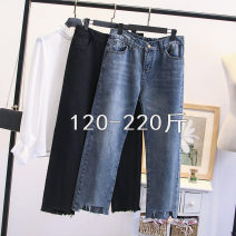 Jeans Autumn of 2019 Black, denim L,XL,2XL,3XL,4XL Ninth pants High waist Straight pants routine 25-29 years old White, Multi Pocket Cotton denim Dark color 67103JS Other / other 96% and above