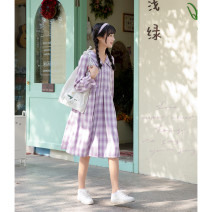 Dress Spring 2021 Iris purple S,M,L Mid length dress singleton  Long sleeves Sweet lattice Socket A-line skirt puff sleeve 18-24 years old Type A Other / other Pleating, stitching, buttons More than 95% polyester fiber solar system