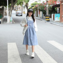 Dress Spring 2021 Haze blue S,M,L Mid length dress singleton  Sweet Hand painted A-line skirt straps 18-24 years old Type A Other / other Embroidery , fold , Splicing , Three dimensional decoration , straps More than 95% polyester fiber solar system