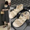 Sandals 35 36 37 38 39 Black Beige PU Yishi soman Barefoot Flat heel Low heel (1-3cm) Summer 2020 Flat buckle Sweet Youth (18-40 years old) rubber Metal decoration PU PU 520_ KxCTp Flat buckle